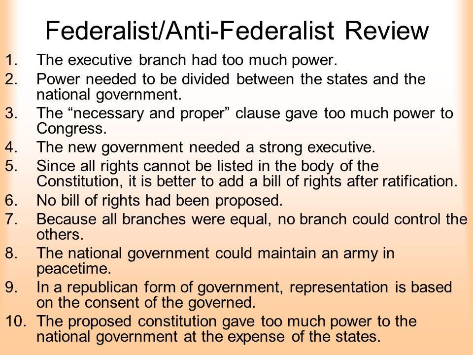 federalist v anti federalist Federalist vs anti-federalist the federalist papers have been studied by many in this edition it has been organized by subject then by publication date while some publication dates are not fully available to the day the months have been determined and each paper without an exact date were considered for content and placed appropriately.