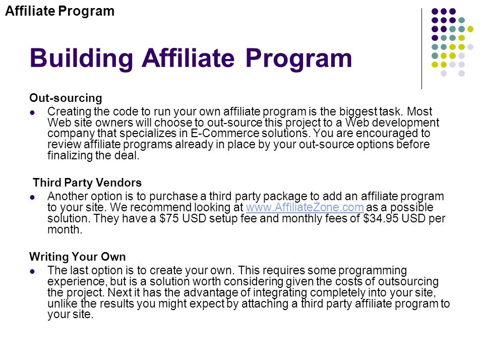 how to create my own affiliate program
