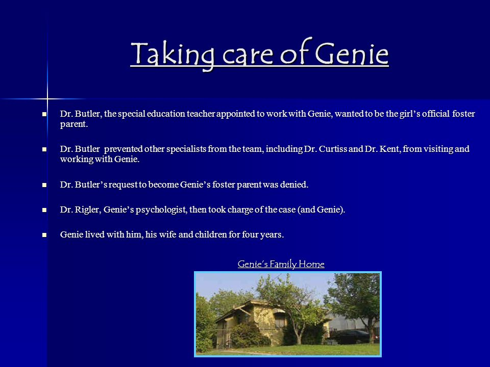 genie case study privation To help genie develop her language and ability to learn as well as allowing researchers to study someone who have suffered extreme privation.