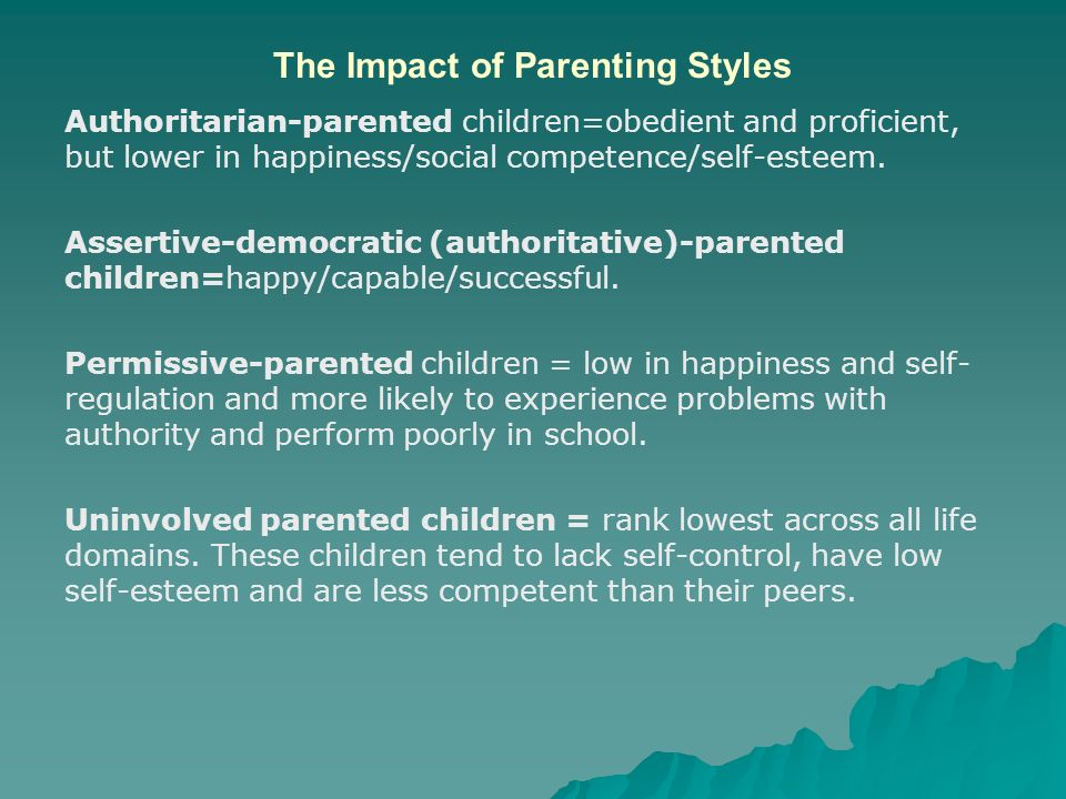 impact of permissive and authoratative parenting Webmd describes various discipline techniques for this is a less effective form of parenting a permissive parent shows lots of affection toward his or her child.