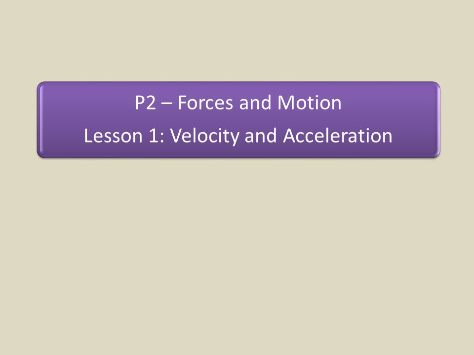Lesson 1: Velocity and Acceleration