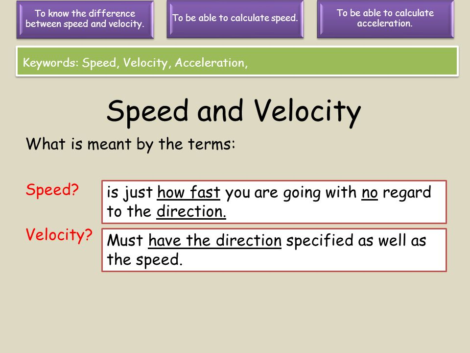 Speed and Velocity What is meant by the terms: Speed Velocity