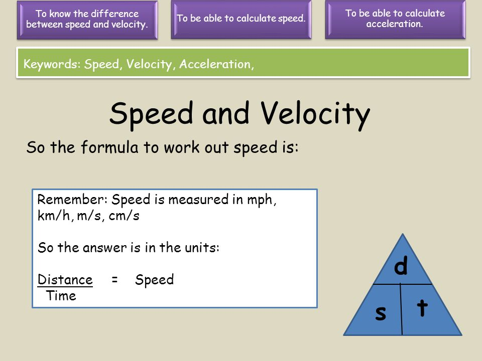 difference between speed and velocity Speed & velocity velocity has units of distance divided by time in the lab, we will  usually measure velocity in units of m/s velocity is also measured in km/h.