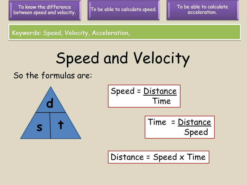 Speed and Velocity d t s So the formulas are: Speed = Distance Time