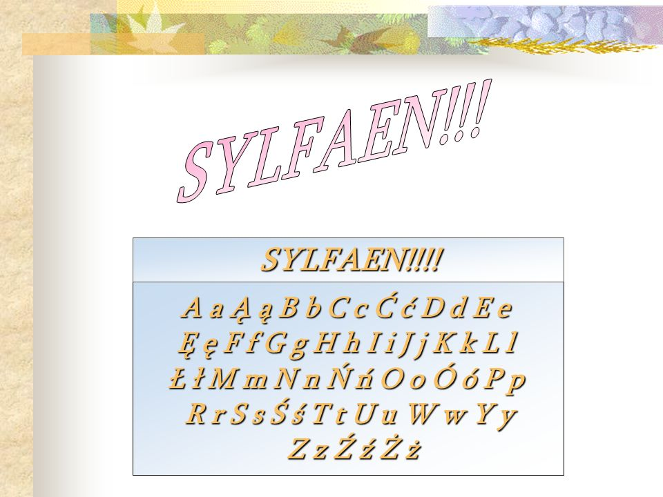 SYLFAEN!!! SYLFAEN!!!! A a Ą ą B b C c Ć ć D d E e