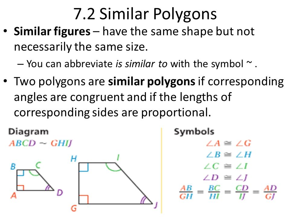 7.2 Similar Polygons Similar figures – have the same shape but not necessarily the same size. You can abbreviate is similar to with the symbol ~ .