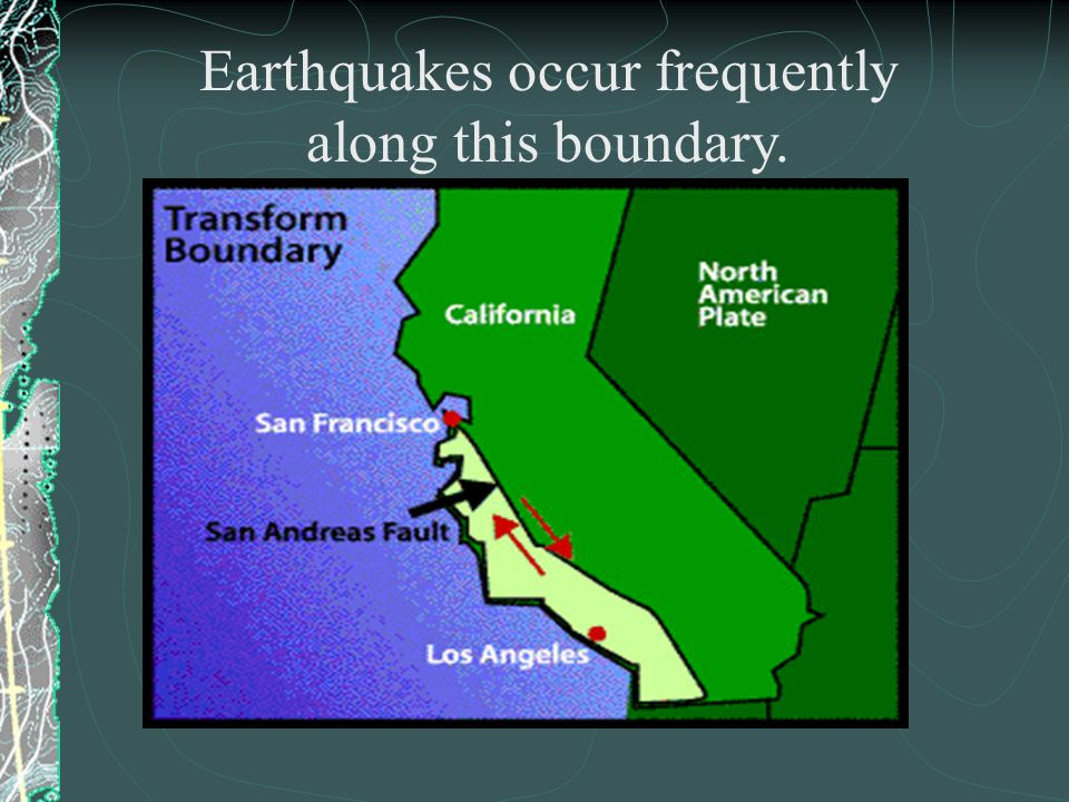 Earthquakes occur frequently along this boundary.
