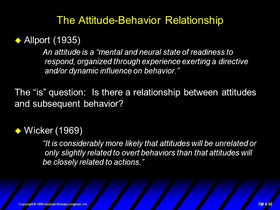 statistical relationship between attitudes and behavior