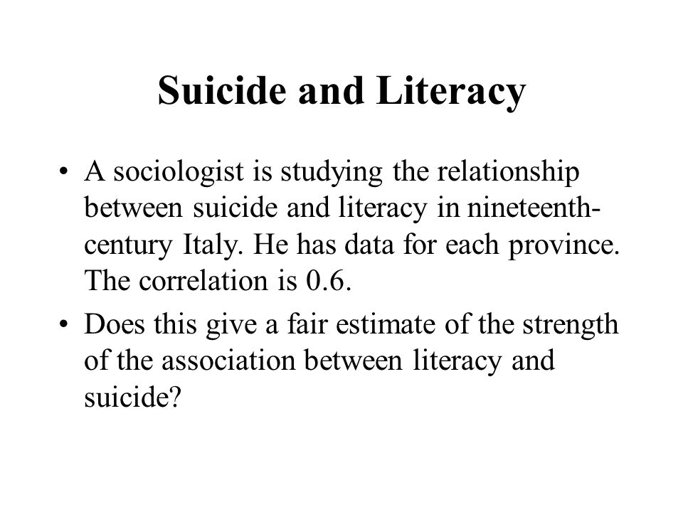 Suicide and Literacy
