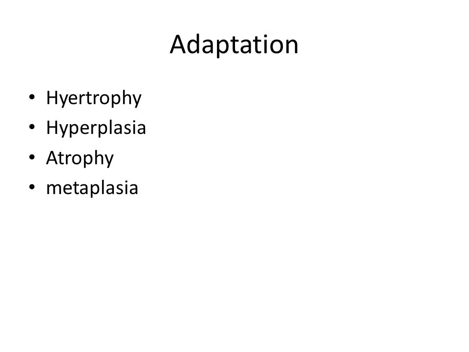 Adaptation Hyertrophy Hyperplasia Atrophy metaplasia