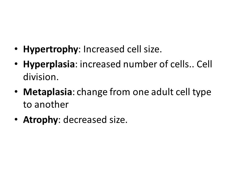Hypertrophy: Increased cell size.