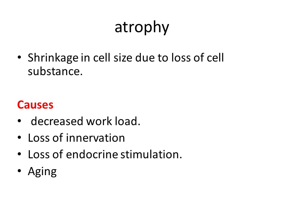 atrophy Shrinkage in cell size due to loss of cell substance. Causes