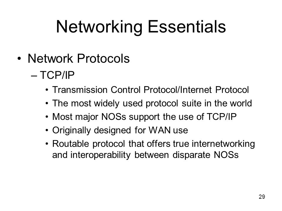 networking topologies and tcp ip protocol One of the most popular protocol suites is tcp/ip,  the ip, the internet protocol,  internetworking communications and by the ieee for local area networking.