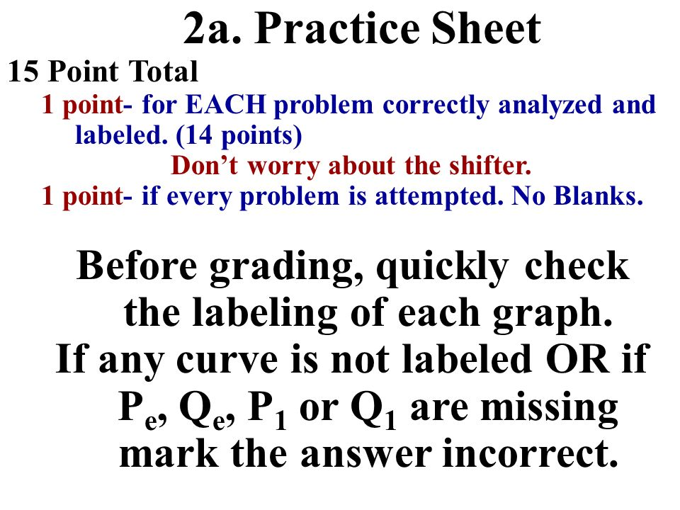 2a. Practice Sheet 15 Point Total. 1 point- for EACH problem correctly analyzed and labeled. (14 points)