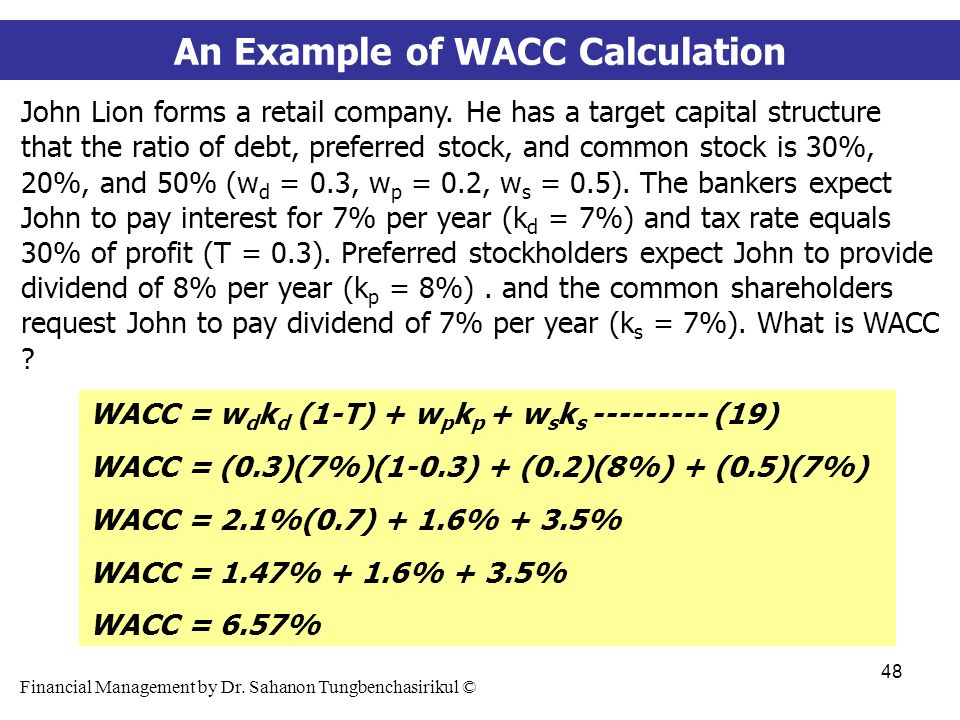 wacc example While choosing the discount rate is a matter of judgment, it is common practice to use the weighted-average cost of capital (wacc)  for example, if a company's.