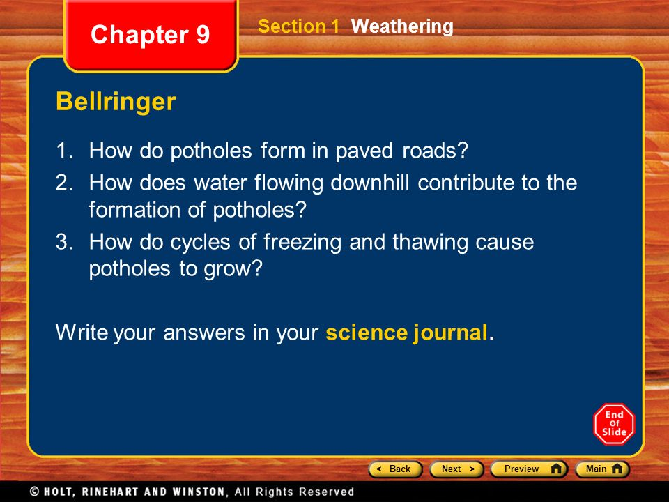 Chapter 9 Preview Section 1 Weathering Section 2 Rates of ...
