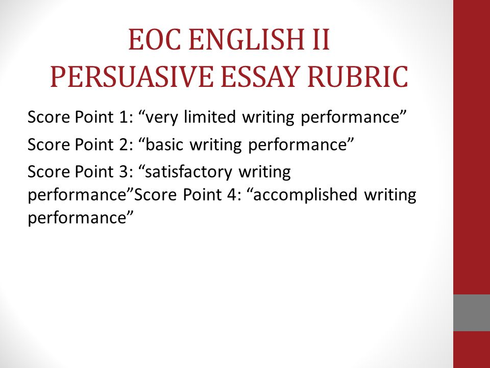 texas eoc persuasive essay prompts Eoc (staar) writing english i literary english i and ii expository english ii persuasive students are given 26 lines per essay texas education agency.