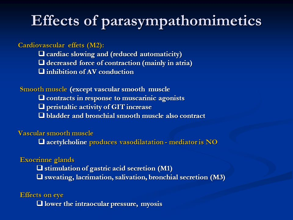 effects of sympathomimetic and parasympathomimetic agents Indirect acting parasympathomimetic agent which acts via cholinesterase inhibition prolonging the effect of acetylcholine constriction of the iris sphincter muscle produces miosis and facilitates the outflow of aqueous humor producing reduction in intraocular pressure.