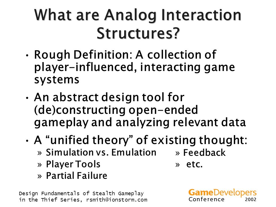 What are Analog Interaction Structures