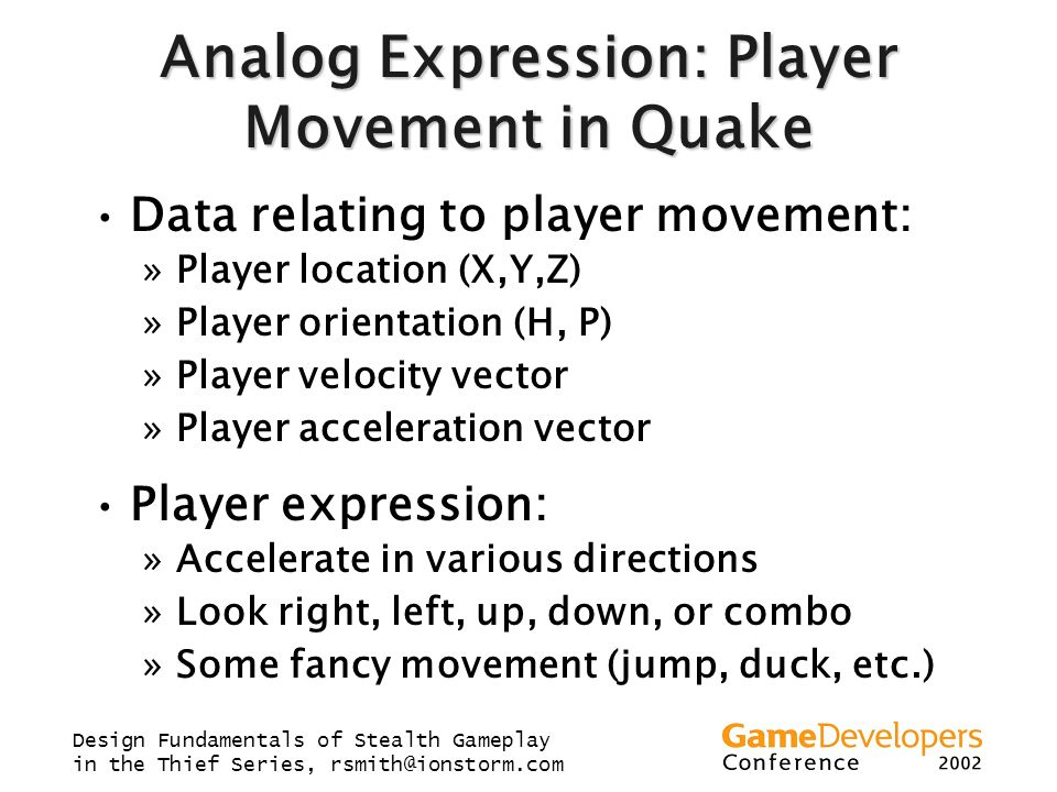 Analog Expression: Player Movement in Quake