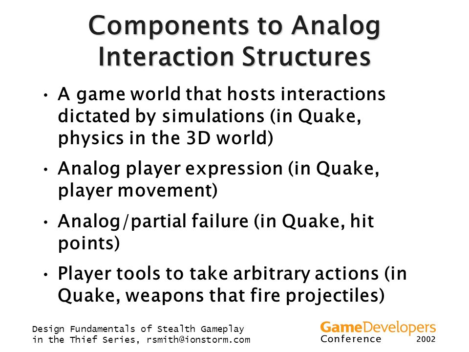 Components to Analog Interaction Structures