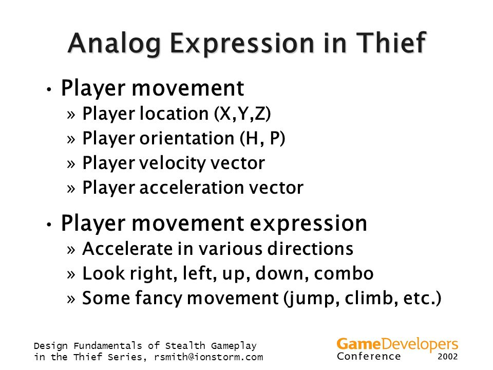 Analog Expression in Thief