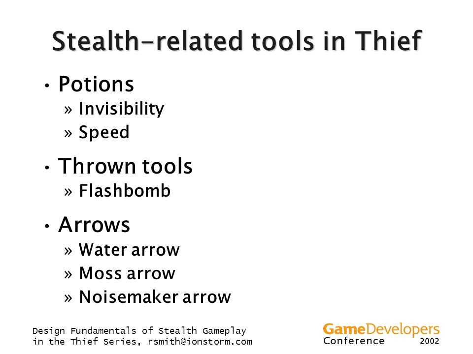 Stealth-related tools in Thief