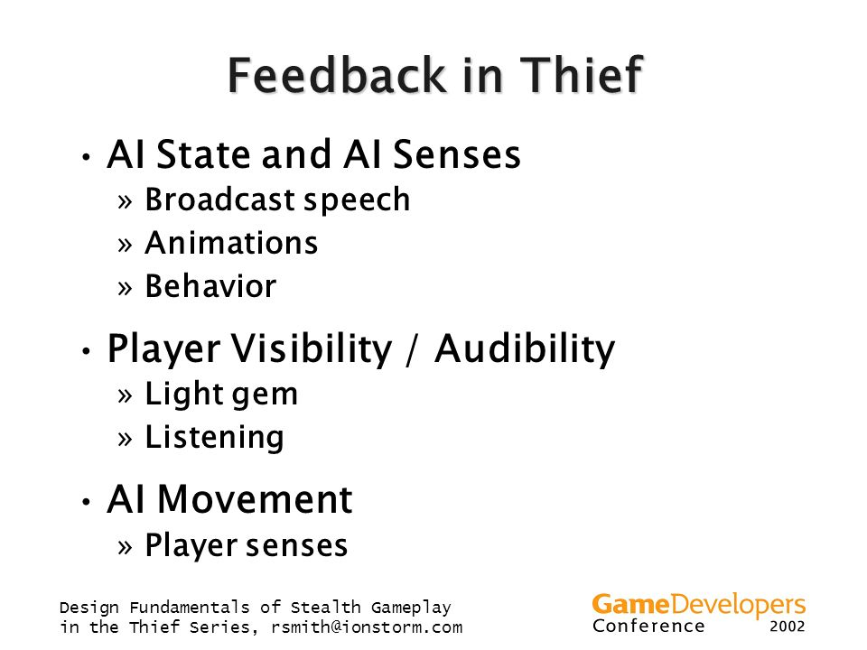 Feedback in Thief AI State and AI Senses