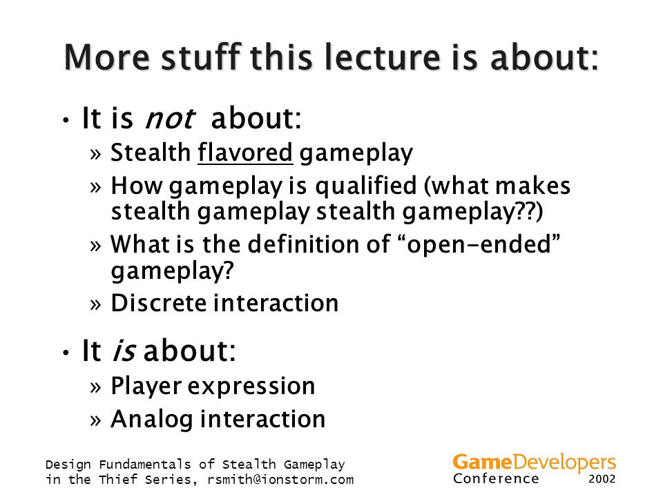More stuff this lecture is about: