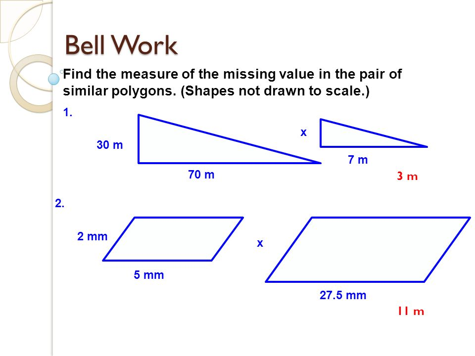 bell work find the measure of the missing value in the