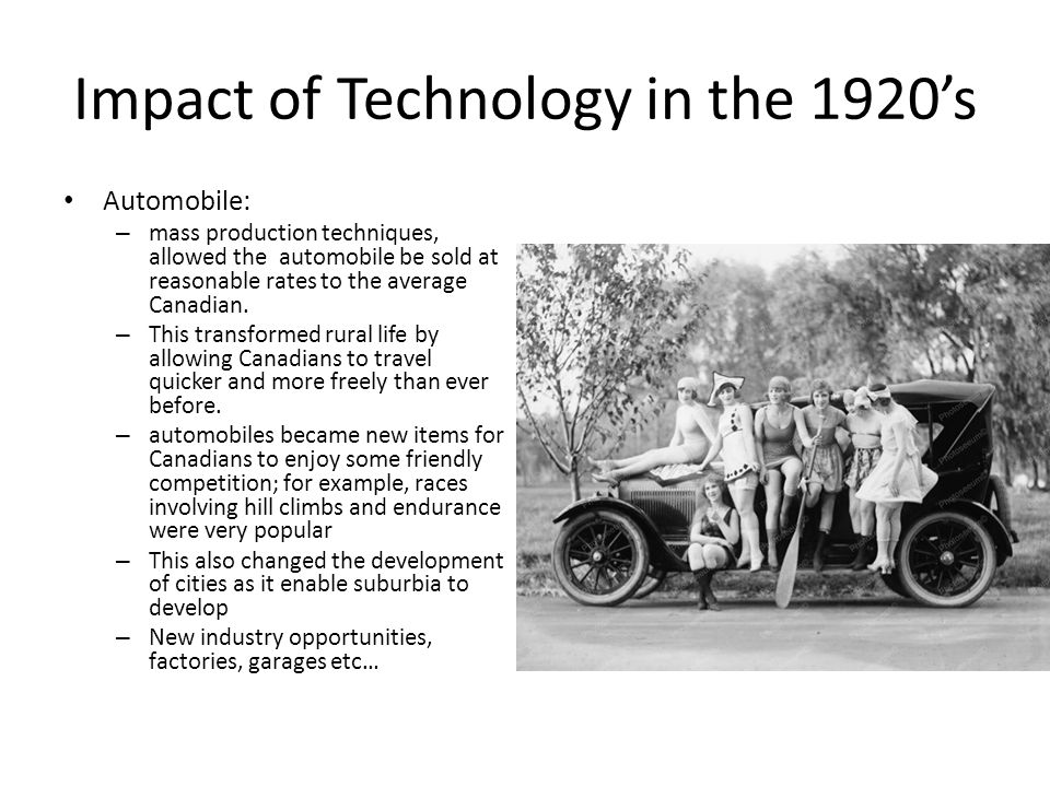 An analysis of the impact of technology in the 1920s