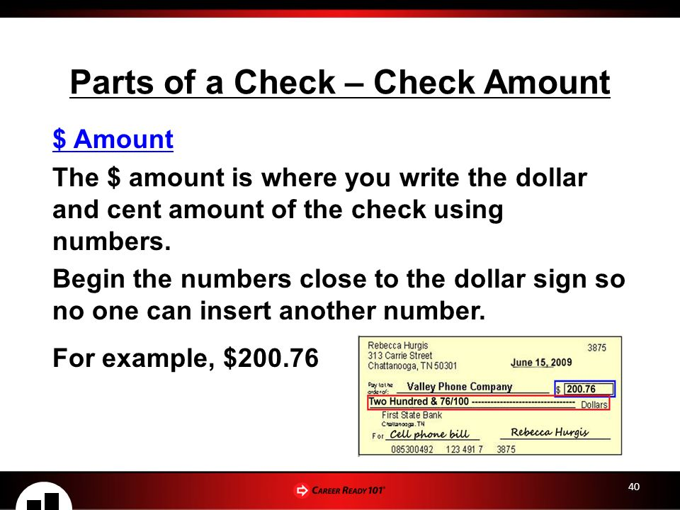 Checking savings accounts lesson 2 checking account basics parts of a check check amount ccuart Images