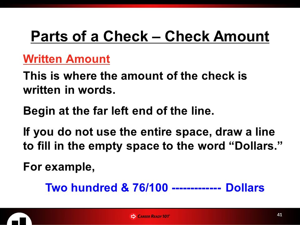 Checking savings accounts lesson 2 checking account basics for example two hundred 76 dollars 41 parts of a check check amount ccuart Images