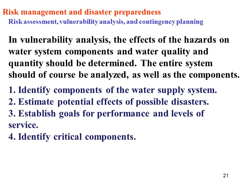 disaster management of water supply using Disaster preparedness procedures in water supply and sewerage systems should  strive, above all, to plan an effective response in order to guarantee the quality.
