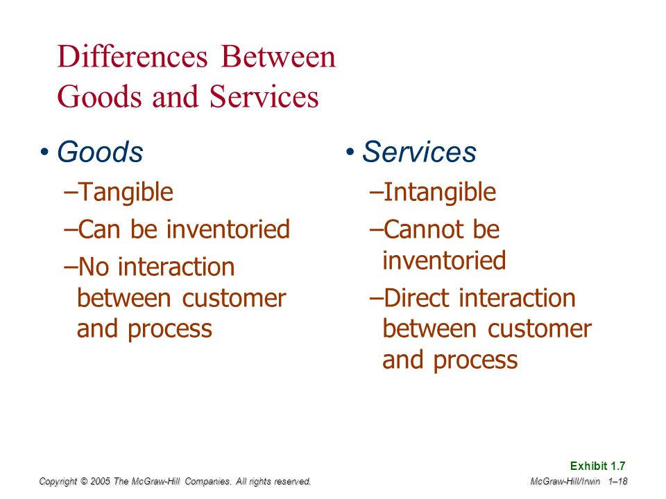 difference between goods and services Goods and services are basic products of an economy goods describe tangible consumable items while services refer to tasks performed by individuals.