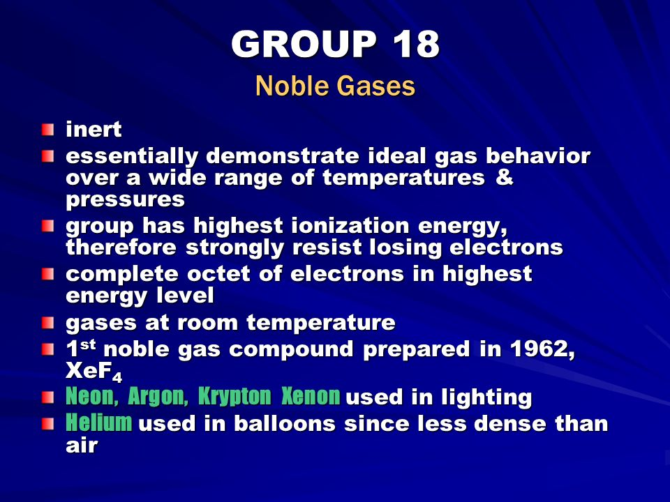 A description of the noble gases
