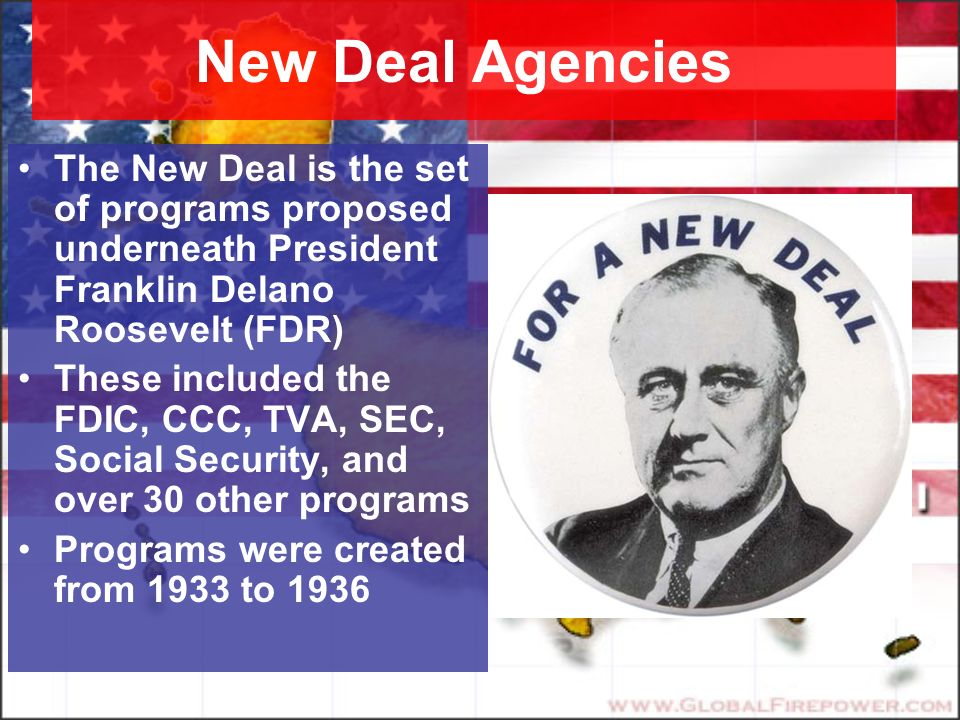 the new deal programs of president franklin d roosevelt Franklin d roosevelt and the new deal   what did president roosevelt name the plan he developed to help the  fdr new deal programs  franklin d roosevelt quiz.