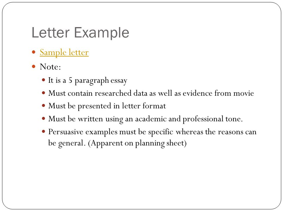 i am sam rdquo persuasive letter ppt video online letter example sample letter note it is a 5 paragraph essay