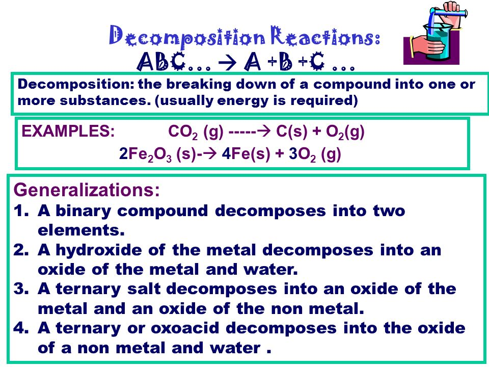 an example of a decomposition reaction is
