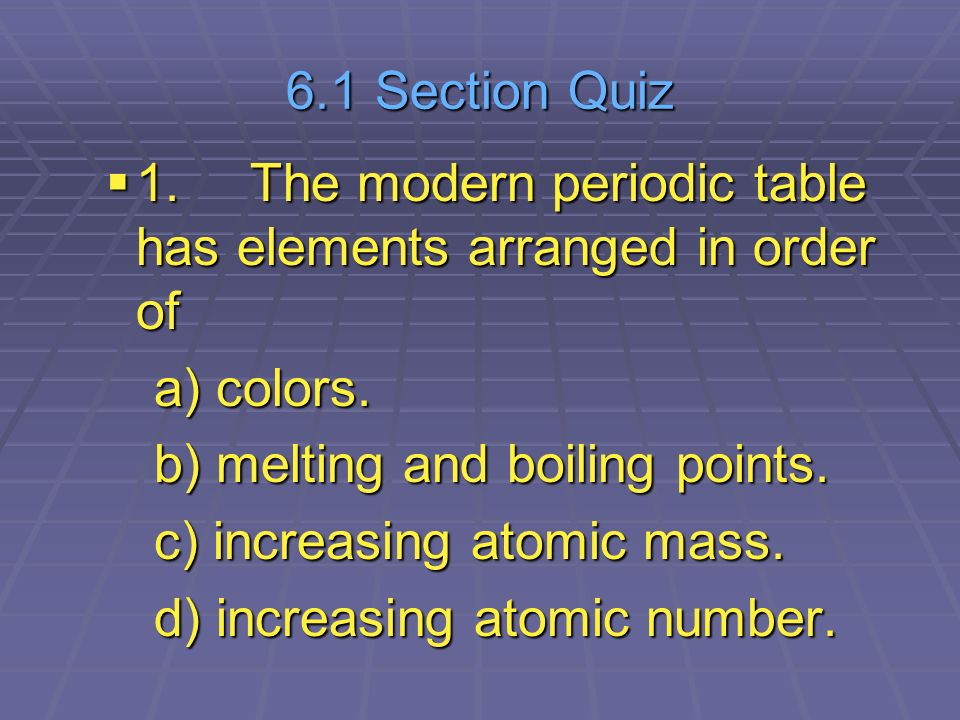 Chapter 6 the periodic table ppt video online download 61 section quiz 1 the modern periodic table has elements arranged in order of urtaz Images