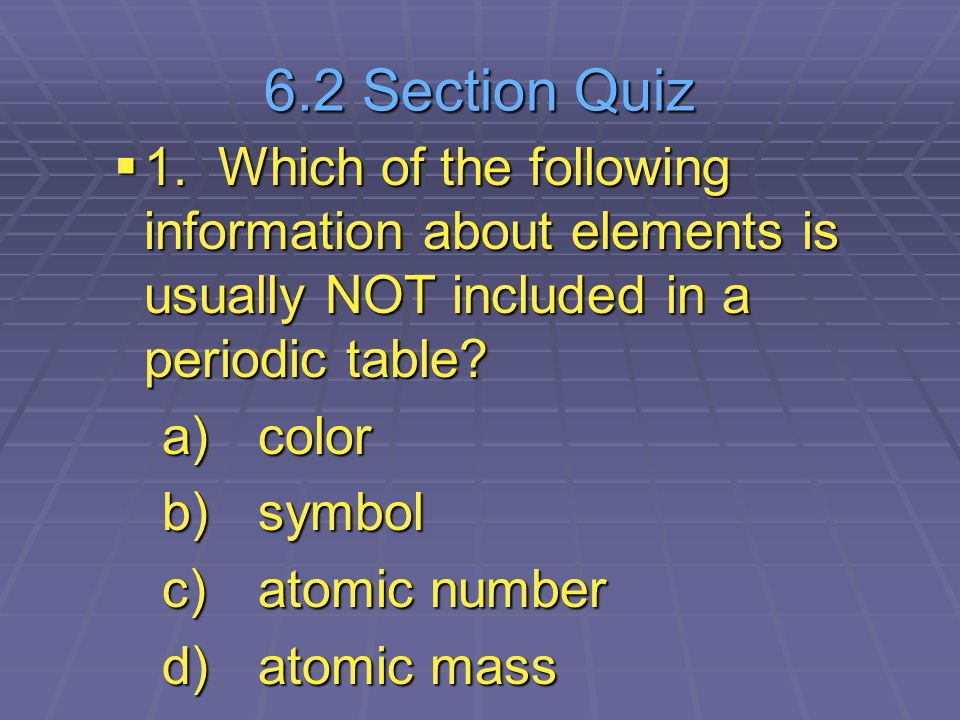 Chapter 6 the periodic table ppt video online download 62 section quiz 1 which of the following information about elements is usually not included urtaz Images