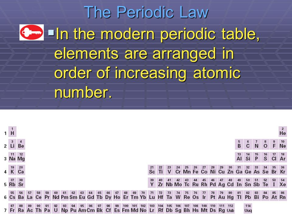 Chapter 6 the periodic table ppt video online download the periodic law 61 in the modern periodic table elements are arranged in order urtaz Gallery