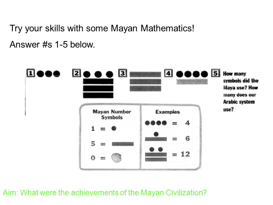 Aim What Were The Achievements Of The Mayan Civilization Ppt