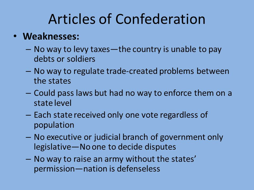 articles regarding confederation disadvantages one particular election each state