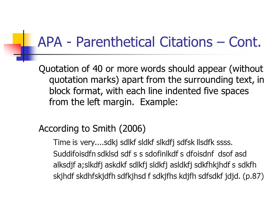 Citing more than 40 words apa style