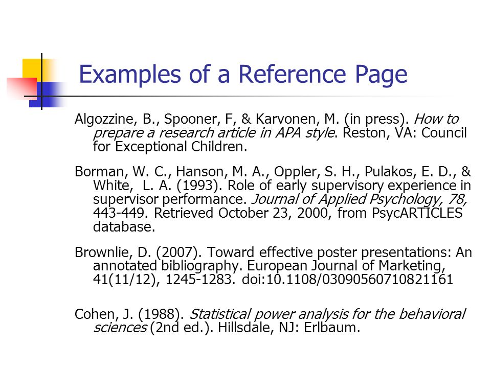 Example Of How To Write A Reference Page Apa Style