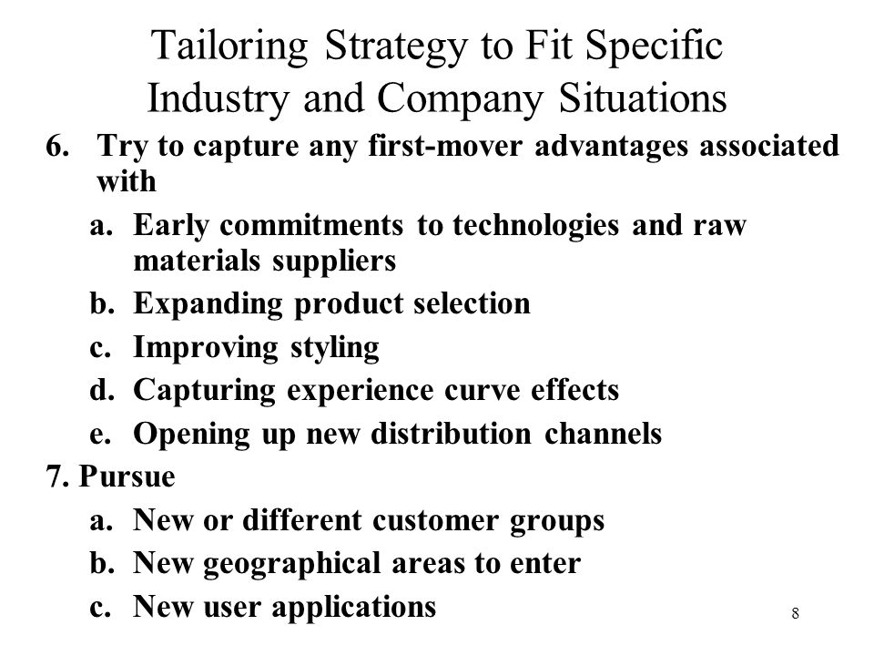 Tailoring Strategy to Fit Specific Industry and Company ...