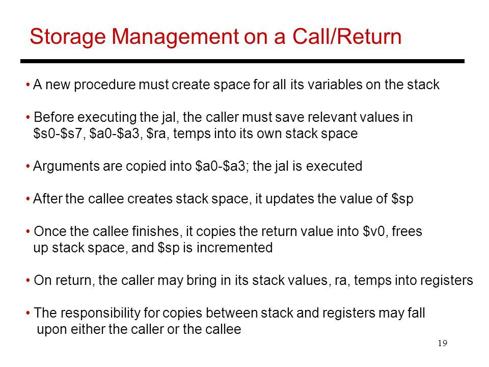Storage Management on a Call/Return