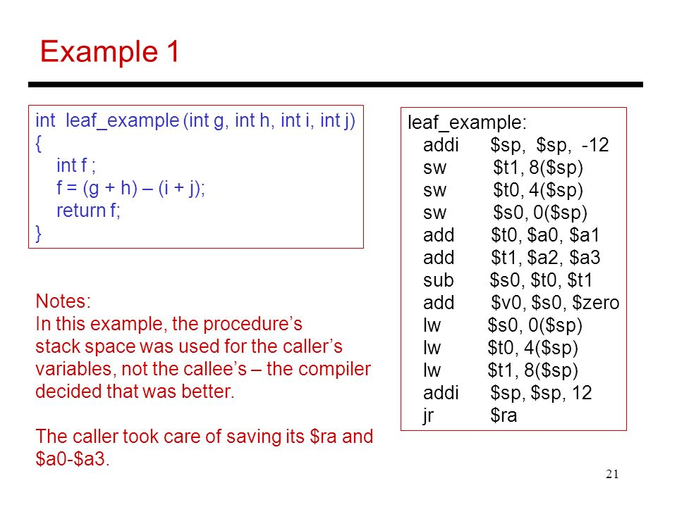 Example 1 int leaf_example (int g, int h, int i, int j) leaf_example: