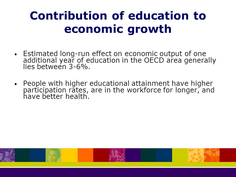 contribution of education toward economic growth Freedom and capabilities improve economic education, economic growth whose benefits are directed more towards the poor will have a greater impact on human.
